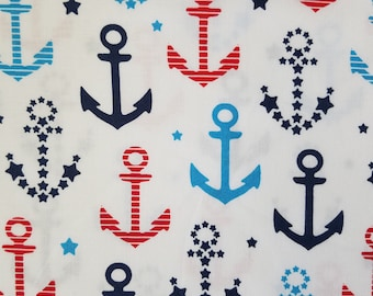 Anchors Cotton Fabric, Nautical Fabric, Blue and Red Cotton Fabric