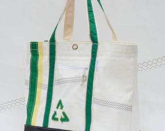 Terrapin Beach Bag, Recycled Sailcloth, Green Recycle Arrows, Big Beach tote, upcycled sails, eco friendly