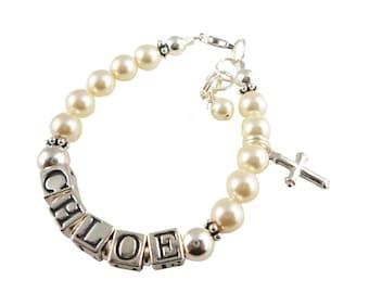 First Communion Bracelet, Girl Bracelet Baptism - swarovski pearl name - Girl baby- Gift Christening Cross-Flower Girl sterling silver charm