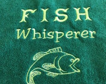 Fishing towel, Fisherman, Hanging Fish Towel, Embroidered Towel, Gift for Fisherman, Father's Day gift