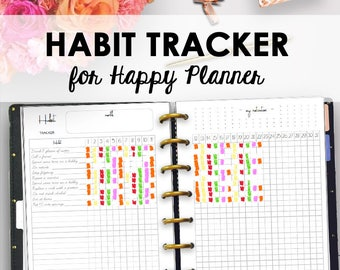 Habit Tracker for Happy Planner, Printable Habit Tracker, Printables for Happy Planner Monthly Habits, Monthly Plan, 7 x 9, Instant Download