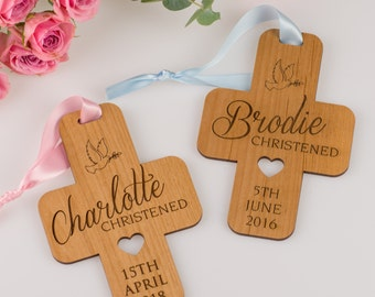 Engraved Wooden Christening Cross Decoration
