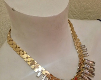 Vtg 90's MODERNIST golden tone with large clear acrylic stones necklace S/M