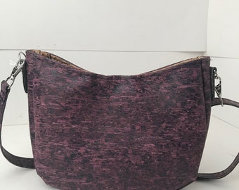Cork Bag/Hobo Bag/Crossbody Bag/Purse/Pouch with Adjustable Strap-  Purple Straw Cork