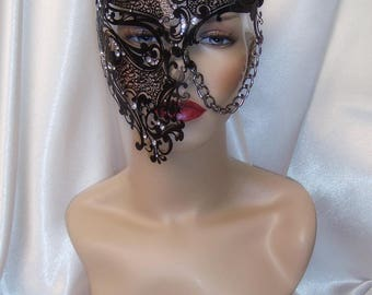 Black Phantom of the Opera Mask, Phantom Half Face Skull Mask, Black Metal Mask, Masquerade Mask, Mardi Gras Mask, Goth Mask