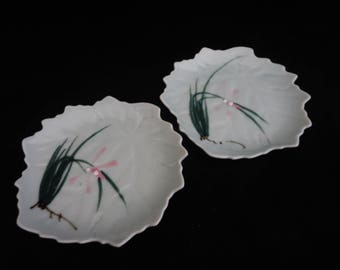 Vintage Leaf Shaped Dish - Set of Two Hand Painted Mint Green Dish - Jewelry Trinket, Catch-All or Soap Dish, Tray  - Made in Japan