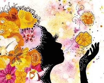 bohemian art - pink orange mixed media painting - flower girl - floral wall art - girls room decor