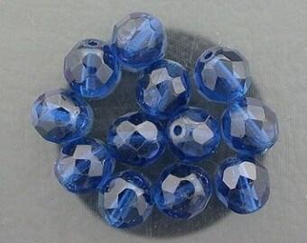 12  capri blue czech fire crystal beads 8mm