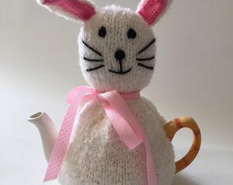 tea pot  cozy hand knitted  cosie rabbit cosy