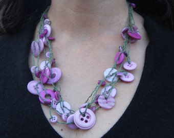 Six-strand necklace // multi-strand necklace // pink purple buttons // green hemp twine // long chunky necklace // eco gifts
