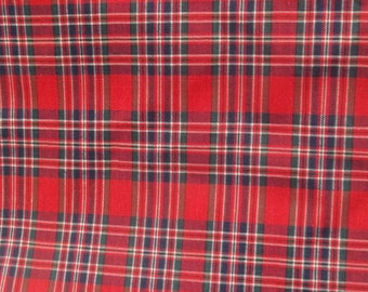 Plaid Cotton Blend Fabric 1 3/4 Yard, Red Navy Green Plaid, Sewing Supply