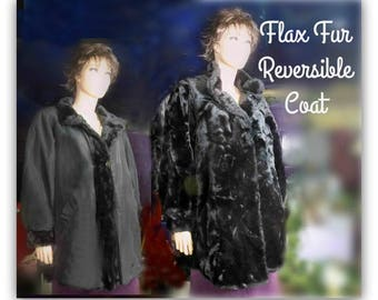 Vintage Flax Fur Coat - Reversible coat - Black flax fur coat - mid length coat - women's jacket coat - over sized coat -  # 11