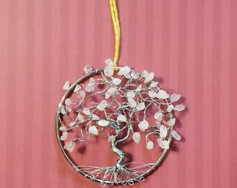 Rose Quartz Suncatcher, Tree of Life Suncatcher, Mothers Day Gifts, Gifts for Her