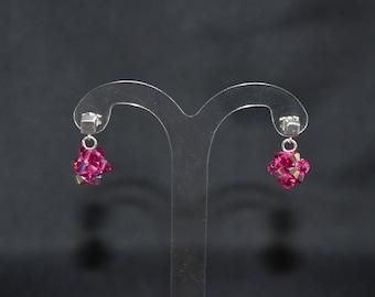 Swarovski crystal earrings and 925 silver cube nail fuschia ab
