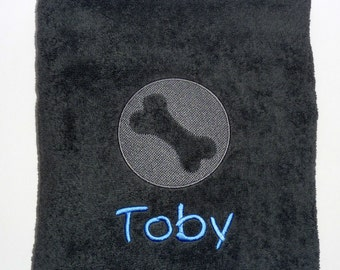 Personalised Dog Towel with Embossed Bone - Large