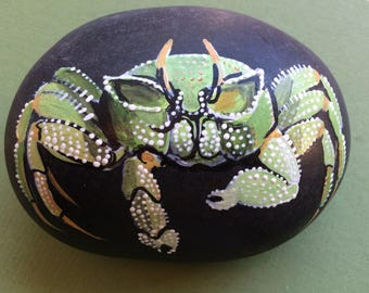 Exquisite GREEN CRAB Hand-Painted ROCK, Extraordinary Details, One-of-a-Kind Treasure
