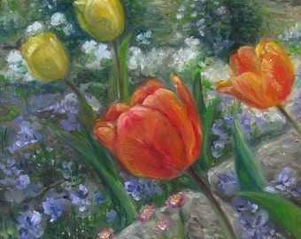 Original Oil Painting On Canvas Of Tulips In A Flower Garden, Painting Size 24 cm x 30 cm