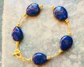 Genuine Lapis Lazuli Teardrop Gemstones with Gold Vermeil Beads and Vermeil Toggle Clasp Bracelet
