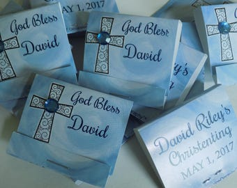 Religious Favors-Mint Matchbooks-Personalized Mintbooks with Lifesavers Mints-pack of 24-bling-communion-baptism-christening-Catholic-blue