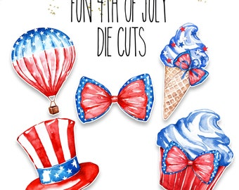 Planner Die Cuts - Die Cut Set - Fun 4th of July Die Cuts - Independence Day Die  Cut Set - 4th of July Die Cut Set - Summer Diecuts