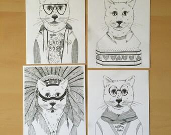 Cat Art Print 4 Pack / Cat Prints / Cats in Clothes / Cat Lady / Cat Lover / Feline Art