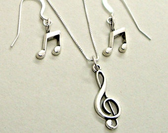 Set Treble Clef Music Note Sterling Silver Necklace Dangle Drop Ear Wires Earrings Singer Songwriter Band Orchestra 1927 - 1887
