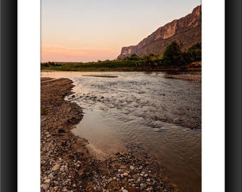 Fine Art Print of Santa Elena Canyon at Big Bend National Park, Texas, Sunset, Rio Grande River, River, Sunset, Photograph