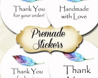 PREMADE•60 Custom 1.5 x 1.5 Round STICKERS•Labels•Tags•Package Labels•Custom Stickers•Custom Labels•Blue FEATHER