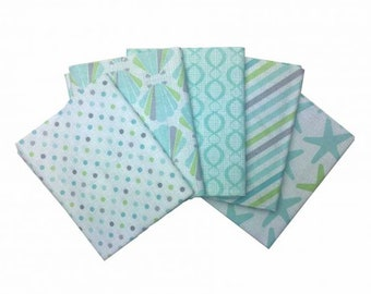 Beach House Underwater Fabric 100% Cotton Fat Quarter Pack