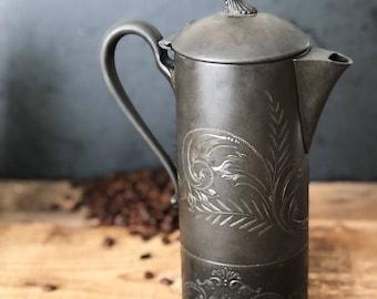 Late 1800s EG Webster Son Quadruple Plate Hard White Metal Coffee Pot Teapot