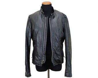 Size S Lined Vintage 80s Black Leather Motorcycle Jacket Women's Small / 34 - Brooks Leather Jacket -Black Leather Moto Jacket Cafe Racer