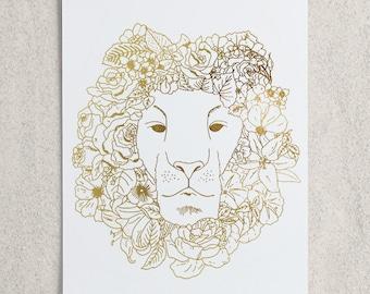Zodiac - Leo Lion Foil Print