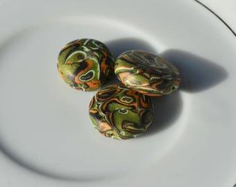 3 Green Mokume Gane Polymer Clay Beads