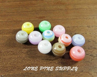 Striped 1/4 Inch Beads. 10 Different Colors.