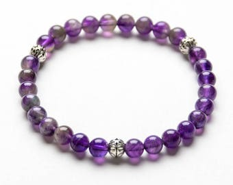AMETHYST COLLECTION 6mm Beaded Gemstone Bracelet- Yoga Jewelry- Gift for Women