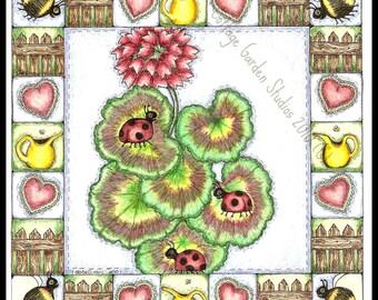 Ladybug Folk Art, Geranium Quilt Block Illustration, Summer, Garden, Print