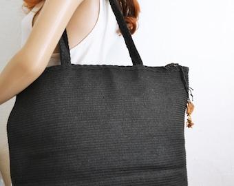 Large Black Woven Tote ,purse,bag,Coldwater Creek, Purse