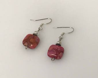Sterling Silver Square Fuchsia Crazy Lace Agate Gemstone Drop Earrings