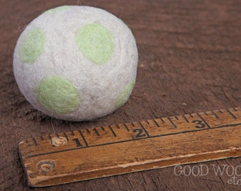 felted wool cat toy or small dog toy ball - white with lime green dots