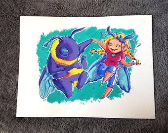 Boogie Down Original Gouache 9X12 Painting Fairy and Fluffy Bee