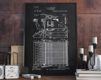 Typewriter Patent Print, Typewriter Wall Art, Typewriter Wall Art, Patent Poster - DA0346