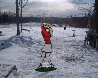 female golfer stained glass suncatcher