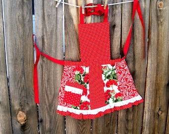 Red Patchwork Girl Apron with Ruffles and Lace - Size 7 to 8