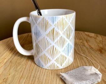 Ceramic Mug 11oz or 15oz   Dusty Gold Diamonds  