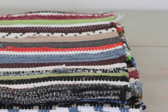 Kleiner runder teppich gewebt flickenteppich handgewebte