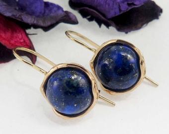 Lapis Earrings, 14K Gold Earrings, Rose Gold Jewelry, Statement Jewelry, Wedding Jewelry, Lapis Lazuli Earrings, Mothers Day Sale