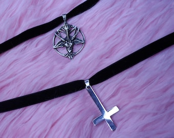 Baphomet or inverted cross choker