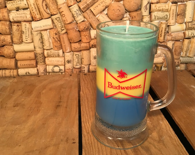 Vintage Budweiser Beer Goblet with a three layered soy candle