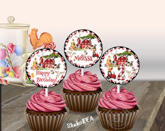 Barnyard Farm Party-Cupcake Toppers- Birthday Custom Printable Cupcake Toppers- Farm Animals Party DIY Party Table Decoration