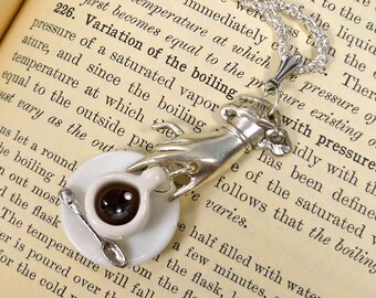 Coffee Cup Necklace Tea Cup Necklace silver plate